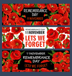 11 november remembrance day poppy banners vector