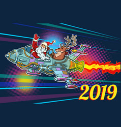 2019 new year retro santa claus with a deer vector image