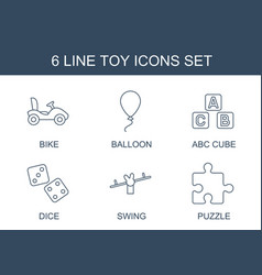 6 toy icons vector