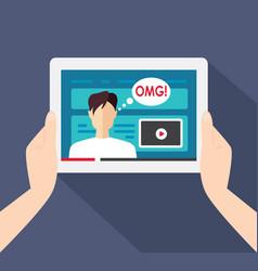 A male video blogger vector