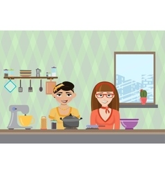 a womans cooking in the vector image