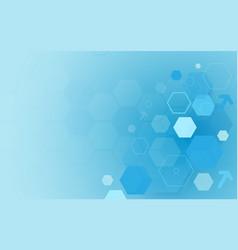 abstract blue technology digital hi tech hexagons vector image