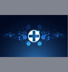 abstract health science consist health plus vector image
