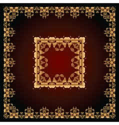 Abstract pattern with golden floral ornaments vector