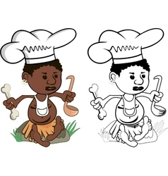 African Chef cook vector