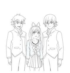 anime manga group vector image