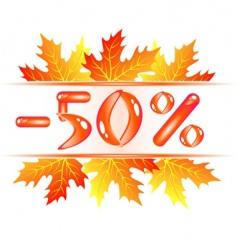 Autumn sale 50 percent discount vector