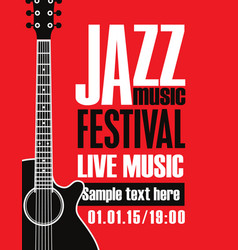 Banner for festival jazz music with a guitar vector