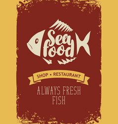 Banner for seafood restaurant or shop with a fish vector