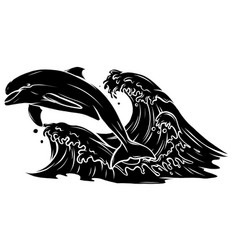 Black silhouette dolphins jumping in sea waves vector