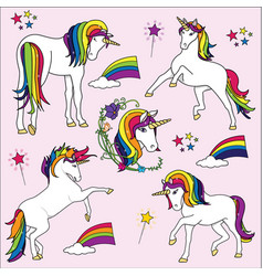 Bright rainbow unicorn vector