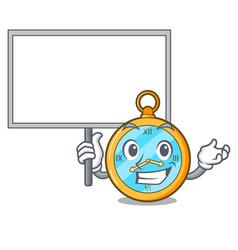 Bring board pocket vintage watch on a cartoon vector