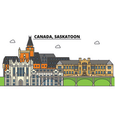 canada saskatoon city skyline architecture vector image