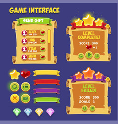Cartoon game user interface assets for mobile vector