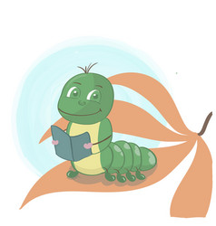 caterpillar reading book on a star leaf cute vector image