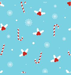 Christmas pattern with holly berries candy canes vector