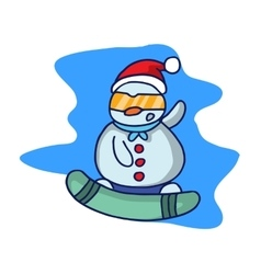 Christmas snowman with hat and glasses cartoon vector