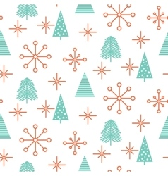 Christmas trees and snowflakes seamless vector