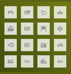 City icons line style set with motor bike vector