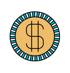Color sections silhouette of coin with money vector