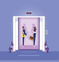 Concept social distancing in elevator vector