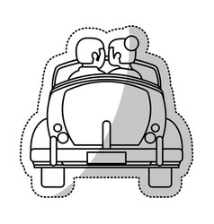 couple car honeymoon outline vector image