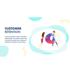 Customer retention website flat template vector