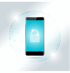 cyber security concept with smart phone vector image