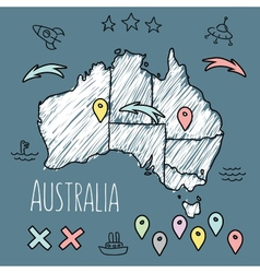 Doodle Australia map on blue chalkboard with pins vector image
