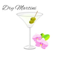 Dry martini cocktail isolated on white vector