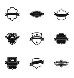 Ensign icons set simple style vector