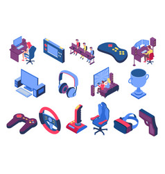 Esport isometric icons set vector