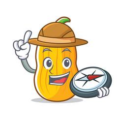Explorer butternut squash mascot cartoon vector