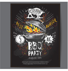 fast food logo design invitation with vector image