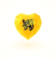 Flag of Flanders in shape diamond glass heart vector
