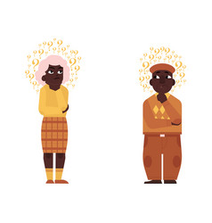 Flat old elderly black man woman thinking vector