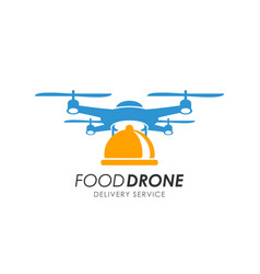 Food drone delivery logo design template vector