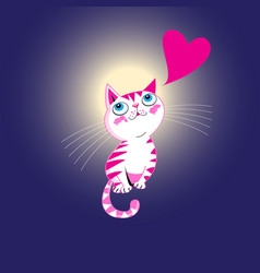 funny kitten in love with a heart vector image