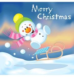 funny snowman sledding vector image