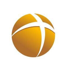 golden circular cross globe symbol logo design vector image