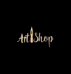 Golden lettering logo design for art company vector