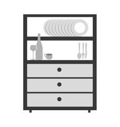 Gray scale big cupboard with items of kitchen vector