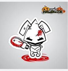 Halloween evil bunny voodoo doll pop art comic vector