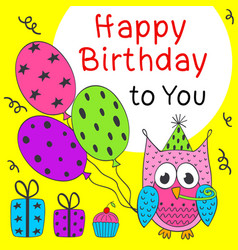 Happy birthday card with funny owl vector