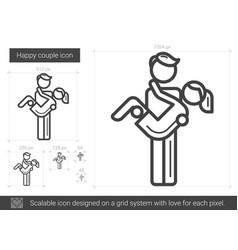 happy couple line icon vector image