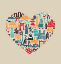 Heart symbols icons world tourist attractions vector
