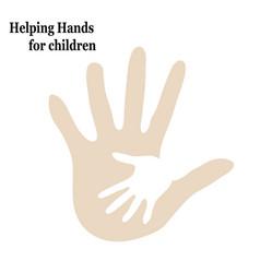 Help children embrace two hands vector