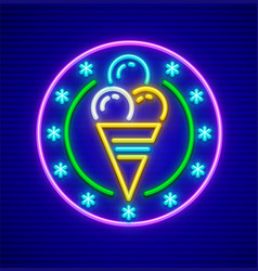 Ice-cream in waffle cup neon vector