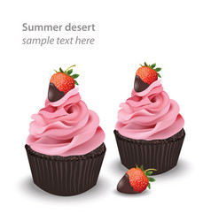 Ice cream or cupcakes summer strawberry flavours vector