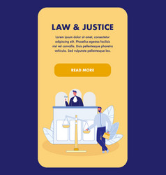 Law and justice vertical landing page template vector